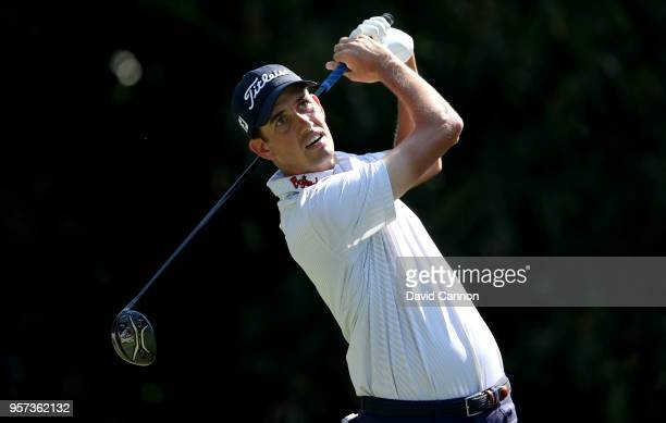 Chesson Hadley of the United States plays his tee shot on the par 5 11th hole during the second round of the THE PLAYERS Championship on the Stadium...