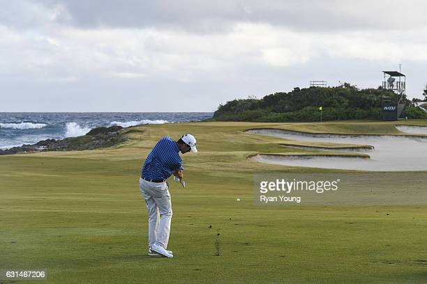 Chesson Hadley plays an approach shot on the 12th hole during the continuation of the third round of The Bahamas Great Exuma Classic at Sandals...