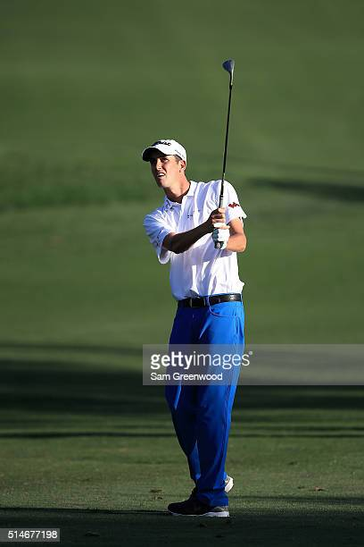 Chesson Hadley plays his second shot on the ninth fairway during the first round of the Valspar Championship at Innisbrook Resort Copperhead Course...