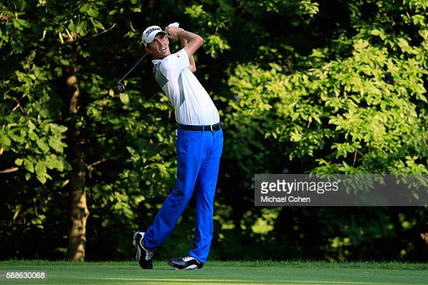 Chesson Hadley plays his shot from the sixth tee during the first round of the John Deere Classic at TPC Deere Run on August 11 2016 in Silvis...