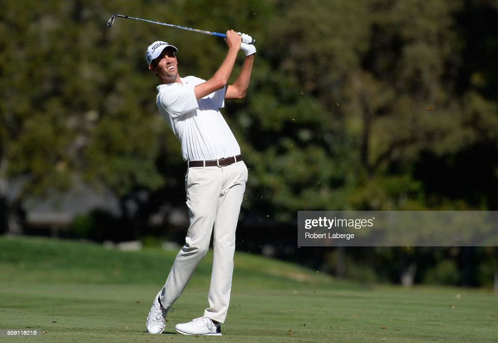 Chesson Hadley plays his shot on the sixth hole during the final round of the Safeway Open at the North Course of the Silverado Resort and Spa on October 8, 2017 in Napa, California.