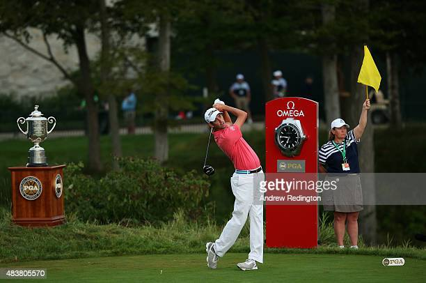 Chesson Hadley watches his tee shot on the first hole during the first round of the 2015 PGA Championship at Whistling Straits on August 13 2015 in...