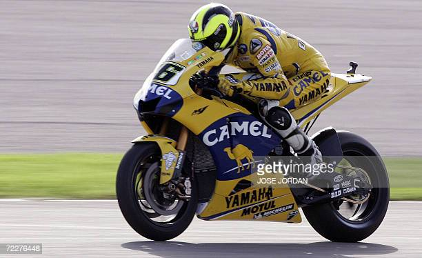 Italy's Valentino Rossi rides during a free practice session of the final MotoGP of the season at the Ricardo Tormo Race track in Cheste near...