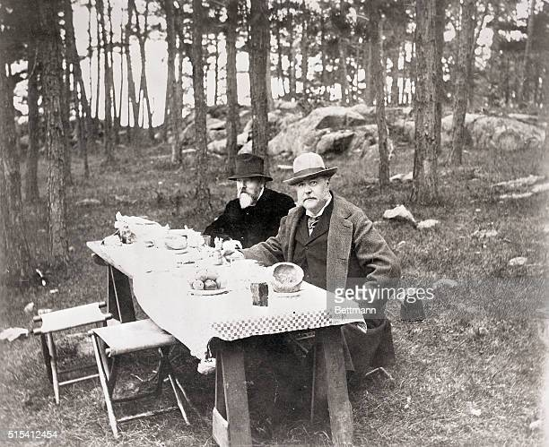 Chester A Arthur President of the US during a camp lunch with his friend Dawn Photograph 1897
