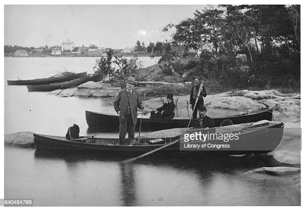Chester Alan Arthur Standing in Fishing Boat
