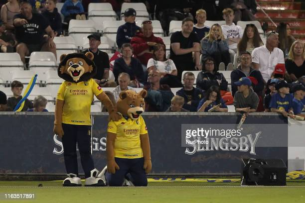 Chester and River the Durham mascots during the Vitality T20 Blast match between Durham County Cricket Club and Yorkshire County Cricket Club at...
