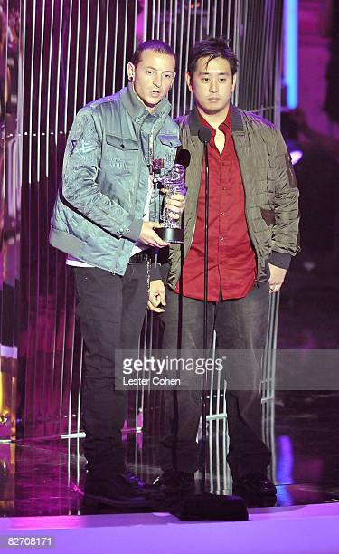 Chester Bennington and Joseph Han of Linkin Park on stage at the 2008 MTV Video Music Awards at Paramount Pictures Studios on September 7 2008 in Los...