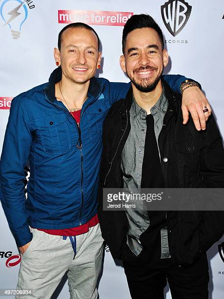Chester Bennington and Mike Shinoda arrive at Music for Relief presents Relief Live at LA River Studios on November 14 2015 in Los Angeles California