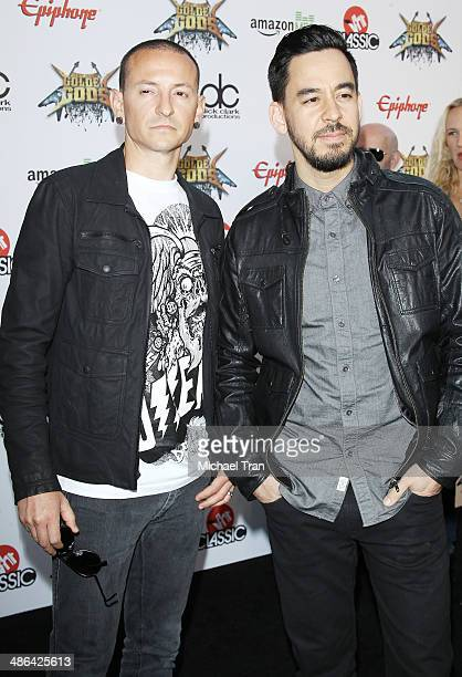 Chester Bennington and Mike Shinoda attend arrives at the 6th Annual Revolver Golden Gods Award Show held at Club Nokia on April 23 2014 in Los...