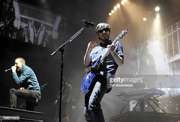 Chester Bennington and Mike Shinoda of Linkin Park perform in support the bands' A Thousand Suns world tour at HP Pavilion on February 22 2011 in San...