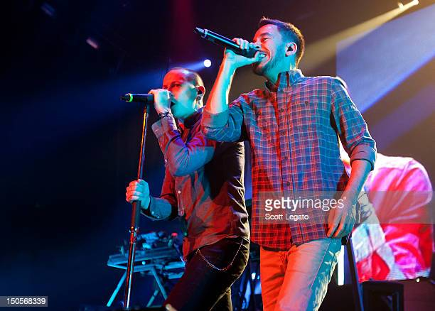 Chester Bennington and Mike Shinoda of Linkin Park performs during the Honda Civic Tour at The Palace of Auburn Hills on August 21, 2012 in Auburn...
