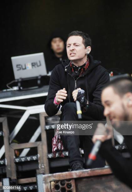 Chester Bennington and Mike Shinoda performing with American rock group Linkin Park at the Pinkpop Festival Landgraaf Netherlands 27th May 2007
