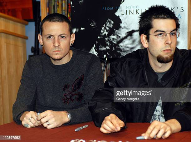 Chester Bennington and Rob Bourdon of Linkin Park during Linkin Park Signs Copies of Their New Book 'From the Inside Linkin Park's Meteora' December...
