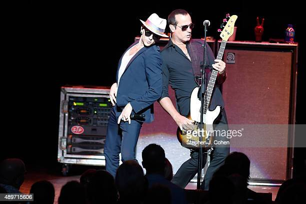 Chester Bennington and Robert DeLeo of Stone Temple Pilots performs at The Louisville Palace on September 23 2015 in Louisville Kentucky