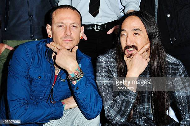 Chester Bennington and Steve Aoki arrive at Music for Relief presents Relief Live at LA River Studios on November 14 2015 in Los Angeles California