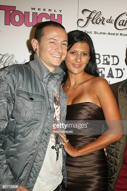 Chester Bennington and Talinda Bentley attend InTouch Weekly's ICONSIDOLS PostVMA Celebration at Chateau Marmont on September 7 2008 in Los Angeles...