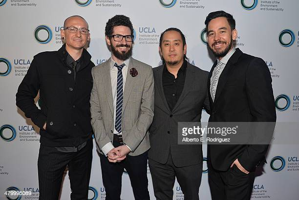 Chester Bennington Brad Delson Joe Hahn and Mike Shinoda of Linkin Park attend An Evening of Environmental Excellence presented by the UCLA Institute...