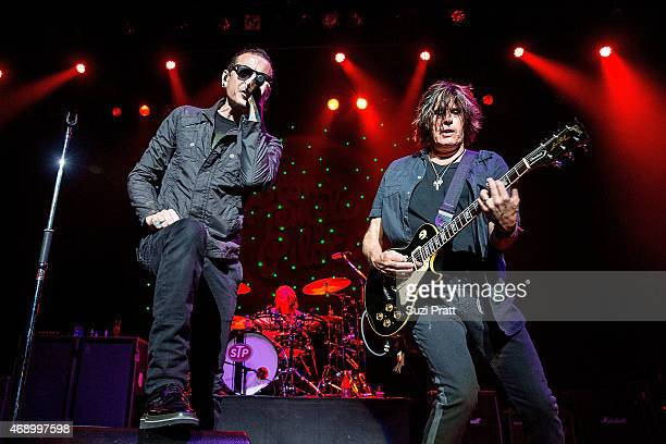 Chester Bennington Eric Kretz and Dean DeLeo of Stone Temple Pilots perform at Paramount Theatre on April 8 2015 in Seattle Washington