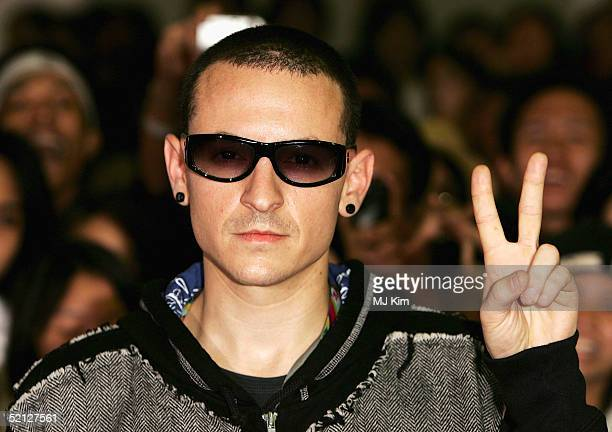 Chester Bennington from Linkin Park arrives at 'MTV Asia Aid' at the IMPACT Arena on February 3 2005 in Bangkok Thailand The fourth annual event was...