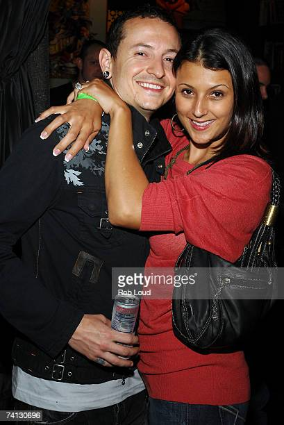 Chester Bennington from the band Linkin Park and wife Talinda Bennington pose at Linkin Park's release party for Minutes To Midnight at Marc Ecko's...