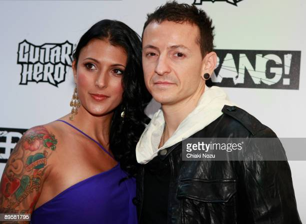Chester Bennington of Linkin Park and a guest arrive for the 2009 Kerrang! Awards at The Brewery on August 3, 2009 in London, England.