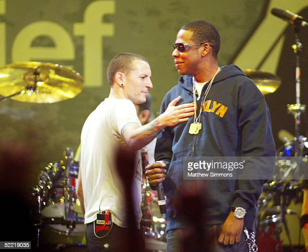 Chester Bennington of Linkin Park and JayZ perform during the Music for Relief tsunami benefit concert at the Anaheim Pond on February 18 2005 in...