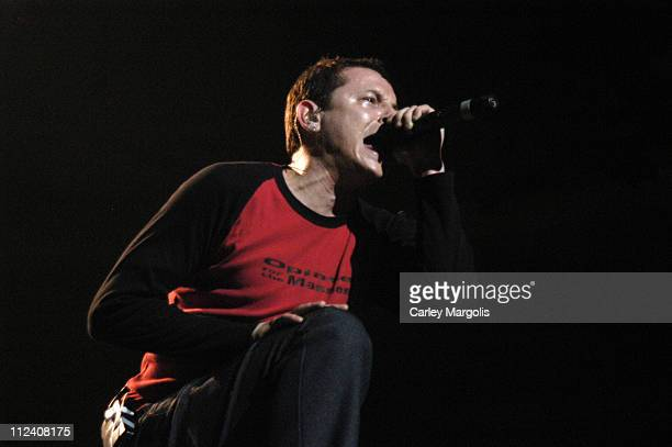 Chester Bennington of Linkin Park during Linkin Park Meteora World Tour 2004 New York at Nassau Coliseum in Uniondale New York United States