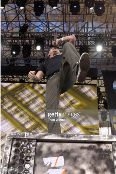Chester Bennington of Linkin Park during LIVE 8 Philadelphia Show at Philadelphia Museum of Art in Philadelphia Pennsylvania United States