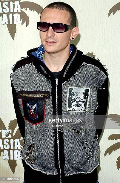 Chester Bennington of Linkin Park during MTV Asia Aid Press Room at Impact Arena in Bangkok Thailand