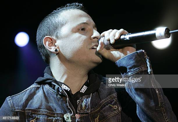 Chester Bennington of Linkin Park during MySpacecom 2nd Anniversary Concert at Dodger Stadium in Los Angeles California United States