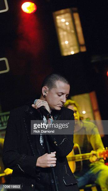 Chester Bennington of Linkin Park during 'ReAct Now Music Relief' Hurricane Relief Benefit Concert Nashville at North Star Studios in Nashville...