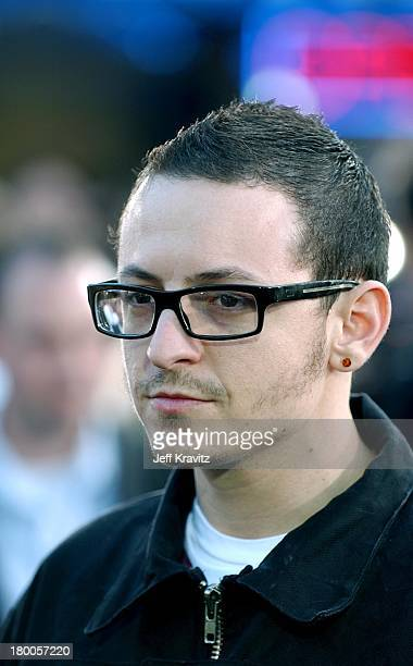 Chester Bennington of Linkin Park during The Matrix Reloaded Premiere at Mann Village Theater in Westwood California United States