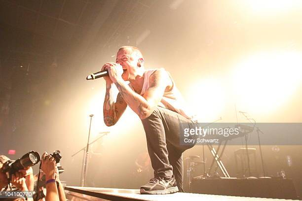 Chester Bennington of Linkin Park performs at the Best Buy Theater on September 14 2010 in New York City