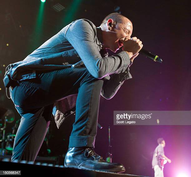 Chester Bennington of Linkin Park performs during the Honda Civic Tour at The Palace of Auburn Hills on August 21, 2012 in Auburn Hills, Michigan.