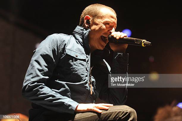 Chester Bennington of Linkin Park performs in support the bands' A Thousand Suns world tour at HP Pavilion on February 22 2011 in San Jose California