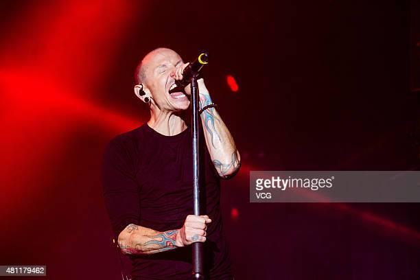 Chester Bennington of Linkin Park performs on the stage during The Hunting Party 2015 China Tour Station Nanjing Station at Nanjing Olympic Sports...