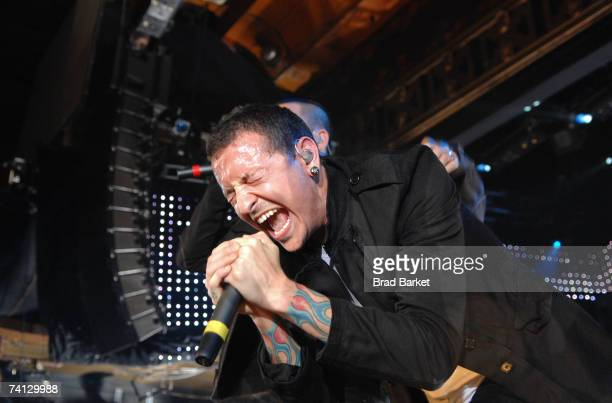 Chester Bennington of Linkin Park performs onstage at Webster Hall on May 11 2007 in New York City
