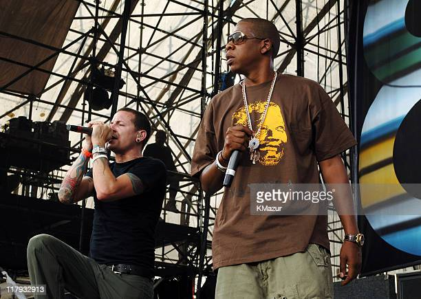 Chester Bennington of Linkin Park with JayZ during LIVE 8 Philadelphia Show at Philadelphia Museum of Art in Philadelphia Pennsylvania United States