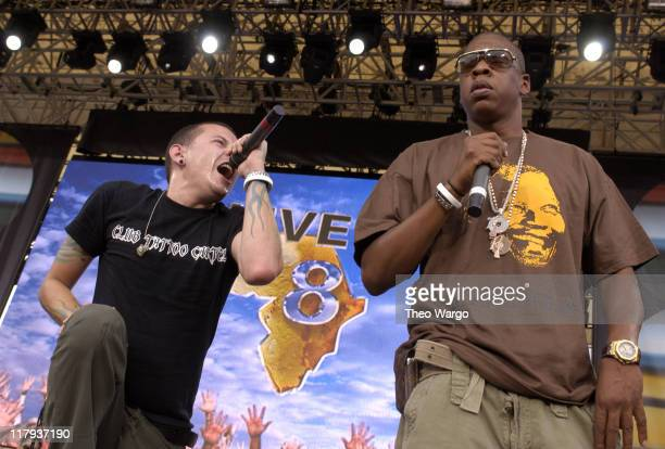 Chester Bennington of Linkin Park with JayZ during LIVE 8 Philadelphia Show at Philadelphia Museum of Art in Philadelphia Pennsylvania United States