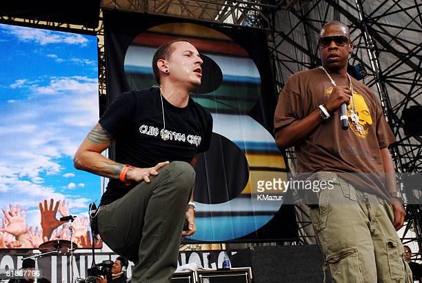 Chester Bennington of Linkin Park with JayZ