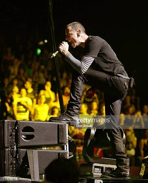 Chester Bennington of numetal band Linkin Park performs on stage in concert in support of their new album ' Minutes to Midnight' at the Sydney...