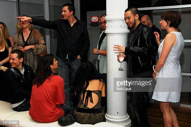 Chester Bennington Talinda Bennington Mike Shinoda and Anna Shinoda talk at Linkin Park's release party for Minutes To Midnight at Marc Ecko's Cut...