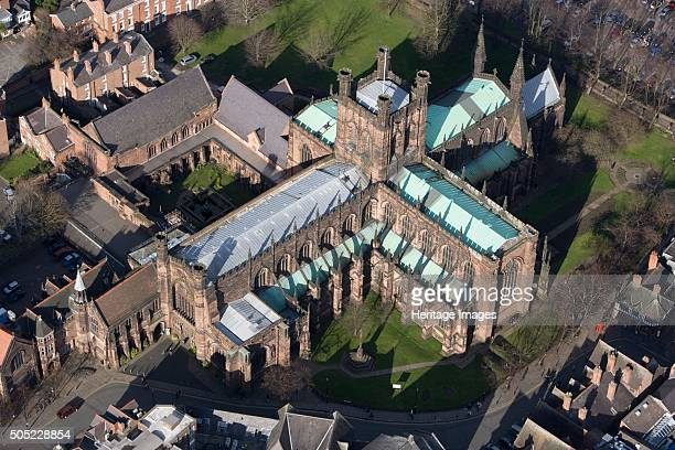 Chester Cathedral Cheshire 2008 Aerial view of the Cathedral Church of Christ and the Blessed Virgin Mary Formerly the abbey church of St Werburgh's...