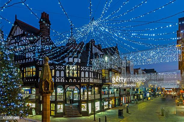 chester christmas shopping - cheshire england stock pictures, royalty-free photos & images