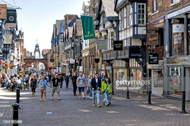 chester city centre, - chester england stock pictures, royalty-free photos & images