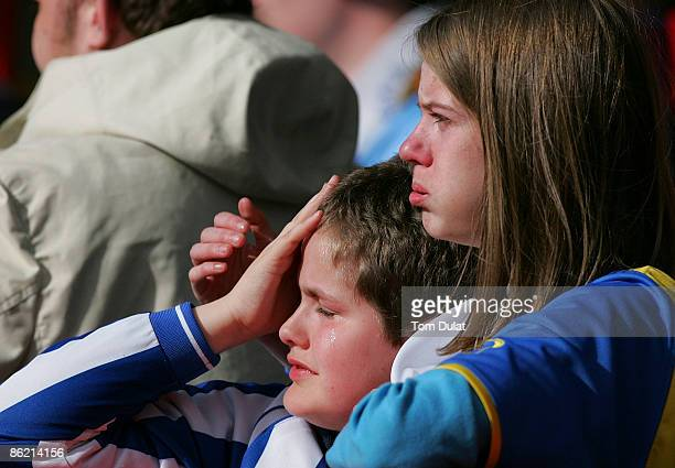 Chester City fans show their disappointment as their club has been relegated after the CocaCola League Two match between Aldershot Town and Chester...