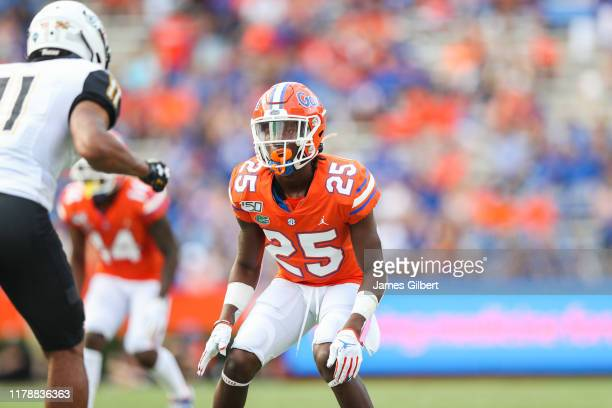 Chester Kimbrough of the Florida Gators looks on during a game against the Towson Tigers at Ben Hill Griffin Stadium on September 28 2019 in...