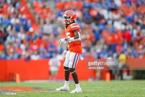 Chester Kimbrough of the Florida Gators looks on during the fourth quarter of a game against the Towson Tigers at Ben Hill Griffin Stadium on...