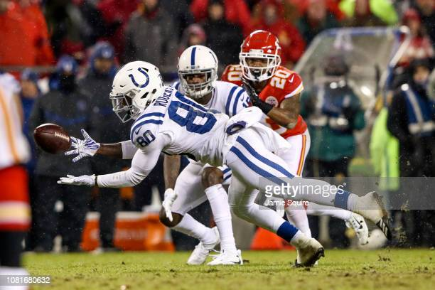 Chester Rogers of the Indianapolis Colts lays out to try and catch a pass during the third quarter of the AFC Divisional Round playoff game at...