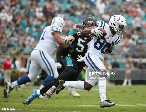 Chester Rogers of the Indianapolis Colts runs with the football in the first half of their game against the Jacksonville Jaguars at EverBank Field on...